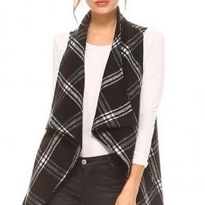 Black and White Plaid Vest